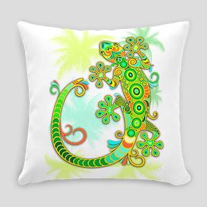 Gecko Lizard Tattoo Style Everyday Pillow