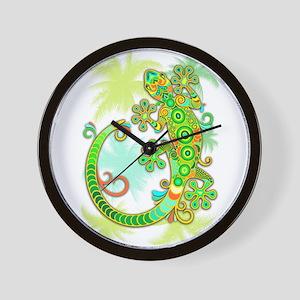 Gecko Lizard Tattoo Style Wall Clock