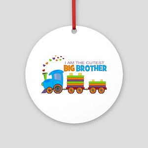 I am the Cutest Big Brother - Train Ornament (Roun