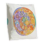 Celtic Crescents Rainbow Burlap Throw Pillow