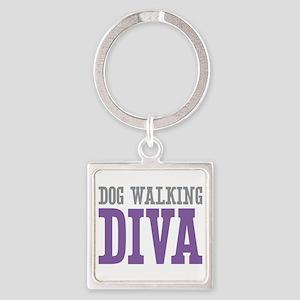 Dog Walking DIVA Square Keychain