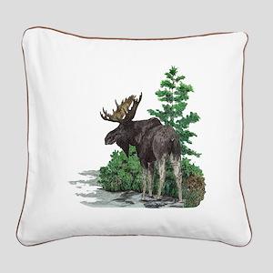 Bull moose art Square Canvas Pillow