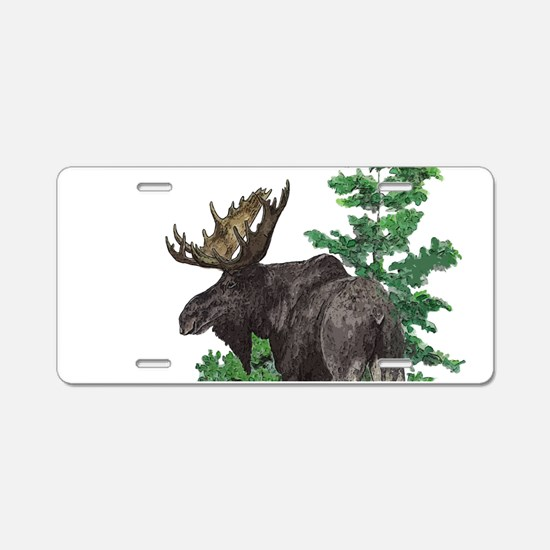 Bull moose art Aluminum License Plate