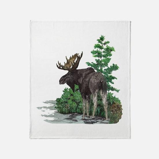 Bull moose art Throw Blanket