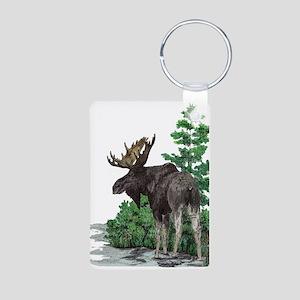 Bull moose art Aluminum Photo Keychain