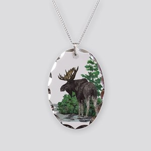 Bull moose art Necklace Oval Charm