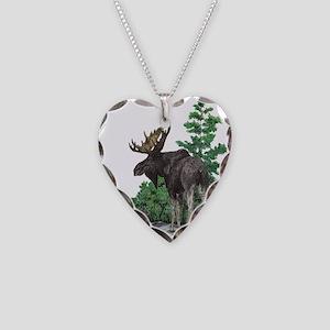 Bull moose art Necklace Heart Charm