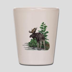 Bull moose art Shot Glass
