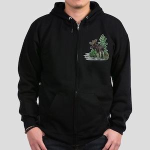 Bull moose art Zip Hoodie (dark)