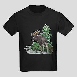 Bull moose art Kids Dark T-Shirt