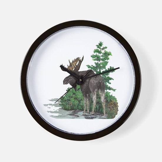 Bull moose art Wall Clock