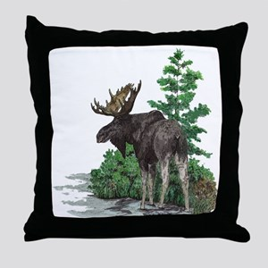 Bull moose art Throw Pillow