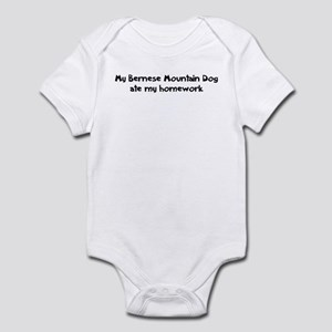 Bernese Mountain Dog ate my h Infant Bodysuit