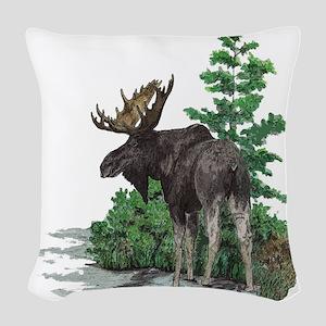 Bull Moose Art Woven Throw Pillow