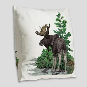 Bull moose art Burlap Throw Pillow