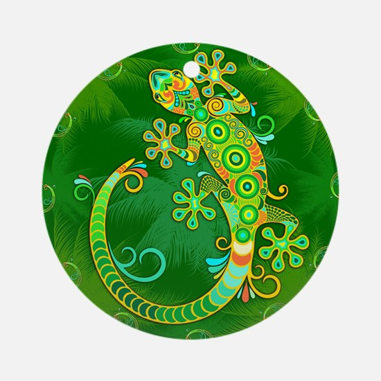 Gecko Lizard Tattoo Style Round Ornament