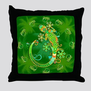 Gecko Lizard Tattoo Style Throw Pillow
