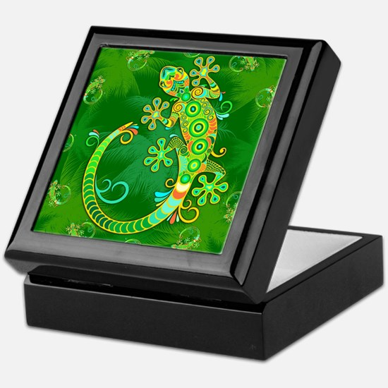 Gecko Lizard Tattoo Style Keepsake Box