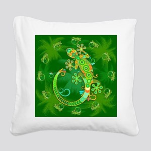 Gecko Lizard Tattoo Style Square Canvas Pillow