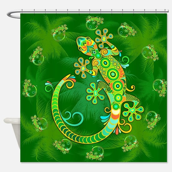 Gecko Lizard Tattoo Style Shower Curtain
