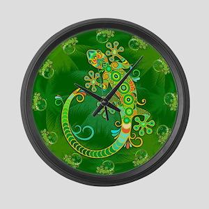 Gecko Lizard Tattoo Style Large Wall Clock