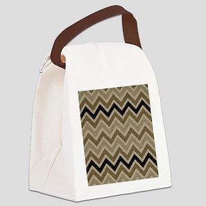Burlap brown Zigzags Canvas Lunch Bag