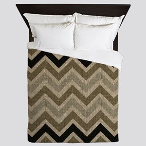 Burlap brown Zigzags Queen Duvet