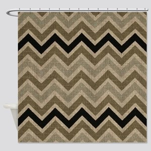 Burlap brown Zigzags Shower Curtain