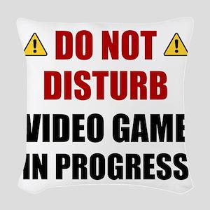 Do Not Disturb Video Game Woven Throw Pillow