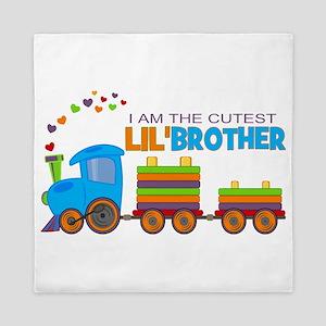 Cutest Lil Brother - Train Queen Duvet