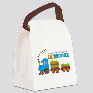 Cutest Lil Brother - Train Canvas Lunch Bag
