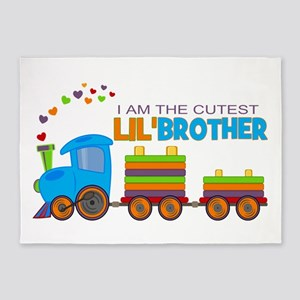 Cutest Lil Brother - Train 5'x7'Area Rug