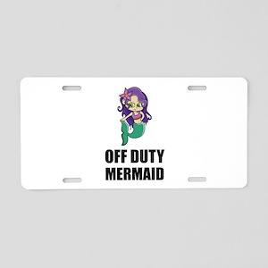 Off Duty Mermaid Aluminum License Plate