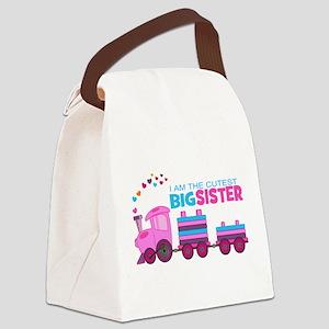 Cutest Big Sister -Train Canvas Lunch Bag