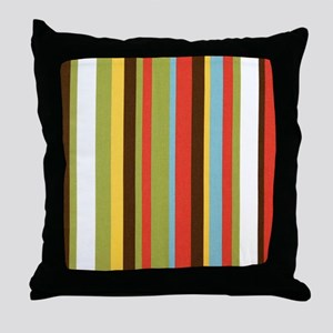 Bold retro colorful stripes Throw Pillow