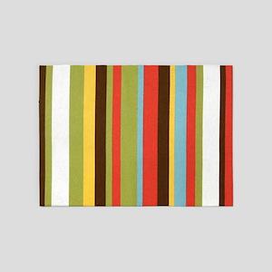 Bold retro colorful stripes 5'x7'Area Rug