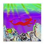 Red Mermaid Tile Coaster