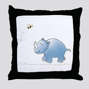 Rhino and Bee Throw Pillow