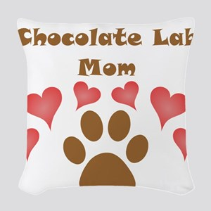 Chocolate Lab Mom Woven Throw Pillow