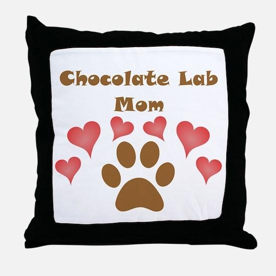 Chocolate Lab Mom Throw Pillow
