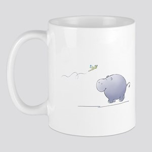 hippo and dragonfly Mug