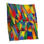 Color Shards Watercolor Burlap Throw Pillow