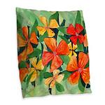 Tropical Flowers Splash Burlap Throw Pillow