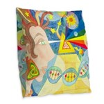Creation Myth Watercolor Burlap Throw Pillow