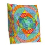 Sacred Geometry Watercolor Burlap Throw Pillow