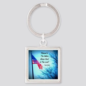 Bless Is The Nation Flag Square Keychain