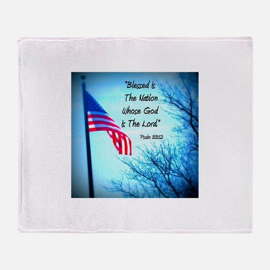 Bless Is The Nation Flag Throw Blanket