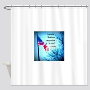 Bless Is The Nation Flag Shower Curtain