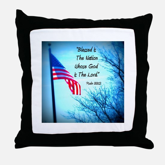 Bless Is The Nation Flag Throw Pillow