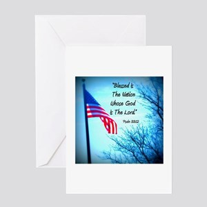 Bless Is The Nation Flag Greeting Card